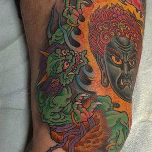 A green Oni in full-on creep mode. Tattoo made by Chris Garver. #oni #onidemon #chrisgarver #japanese