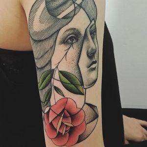Creative portrait tattoo by Mariusz Trubisz #MariuszTrubisz #cooltattoos #color #abstract #newtraditional #cubist #dotwork #linework #rose #mashup #portrait #eyes #ladyhead #mask #flower #tattoooftheday