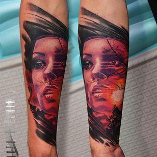 Woman Tattoo by Piotr Olejnik #colorealism #realism #realismtattoo #abstractrealism #watercolor #abstracttattoo #PiotrOlejnik