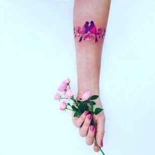 Birds and Blossoms Tattoo by Pis Saro @Pissaro_tattoo #PisSaro #PisSaroTattoo #Nature #Watercolor #Naturetattoo #Watercolortattoo #Botanical #Botanicaltattoo #Crimea #Russia #Bird #Blossoms