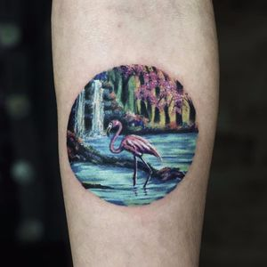 Pink flamingos by Serkan Demirboğa #SerkanDemirboga #watercolor #color #painting #pinkflamingo #flamingo #waterfall #flowers #cherryblossom #water #bird #tattoooftheday