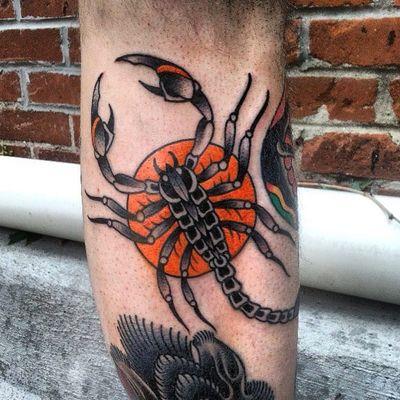 Traditional scorpion tattoo, artist unknown /via tattoo-journal.com #traditional #scorpion