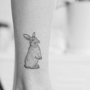 Bunny tattoo by Minnie #Minnie #bunnytattoo #illustrative #linework #fineline #realistic #bunny #rabbit #nature #animal #cute #small #detailed