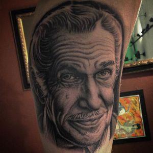 Vincent Price Tattoo by Dave Allen #VincentPrice #VincentPriceTattoos #ActorTattoos #HollywoodTattoos #ClassicActor #DaveAllen #hollywood #portrait #actorportrait