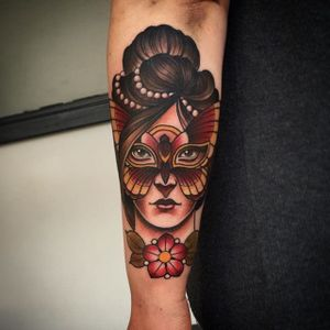 Neo traditional lady wearing a butterfly mask. Tattoo by Fraser Peek. #neotraditional #butterfly #mask #masquerade #lady #woman