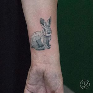 Hare by Sven Rayen (via IG-svenrayen) #hare #rabbit #geometric #linework #3D #animal #blackandgrey #illustrative #SvenRayen