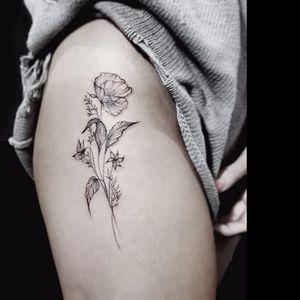 Refined flower tattoo by Stella Luo #StellaLuo #fineline #blackandgrey #linework #small #flower