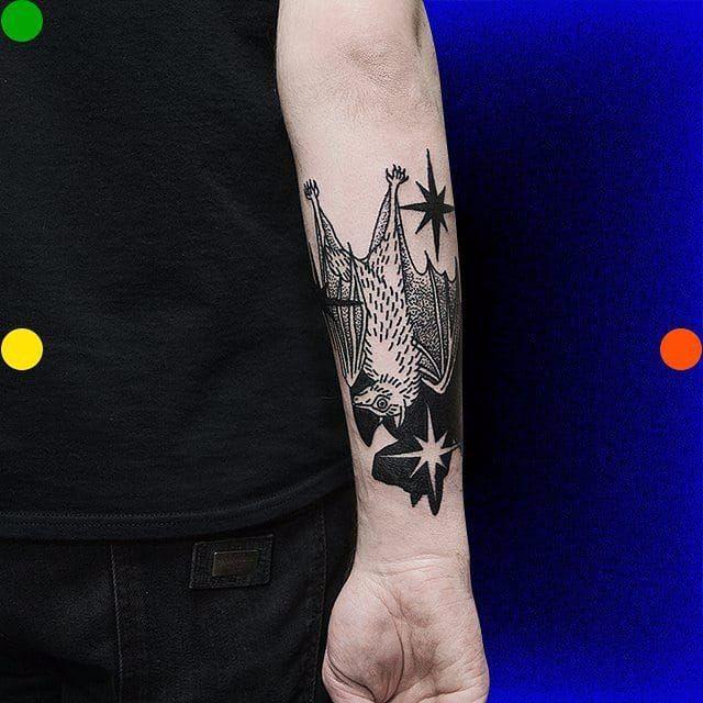 Bat tattoo by Roman Shcherbakov. #RomanShcherbakov #trippy #blackwork #bat #btattooing #blckwrk