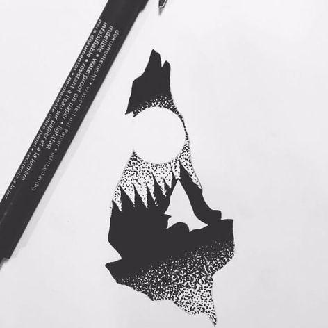 A tattoo design of Sebastiano Perezzetta's (IG—sebastiano_perazzetta) signature howling wolf silhouettes that encompasses a nighttime landscape. #landscapes #moon #SebastianoPerezzetta #silhouette #wilderness #wolf