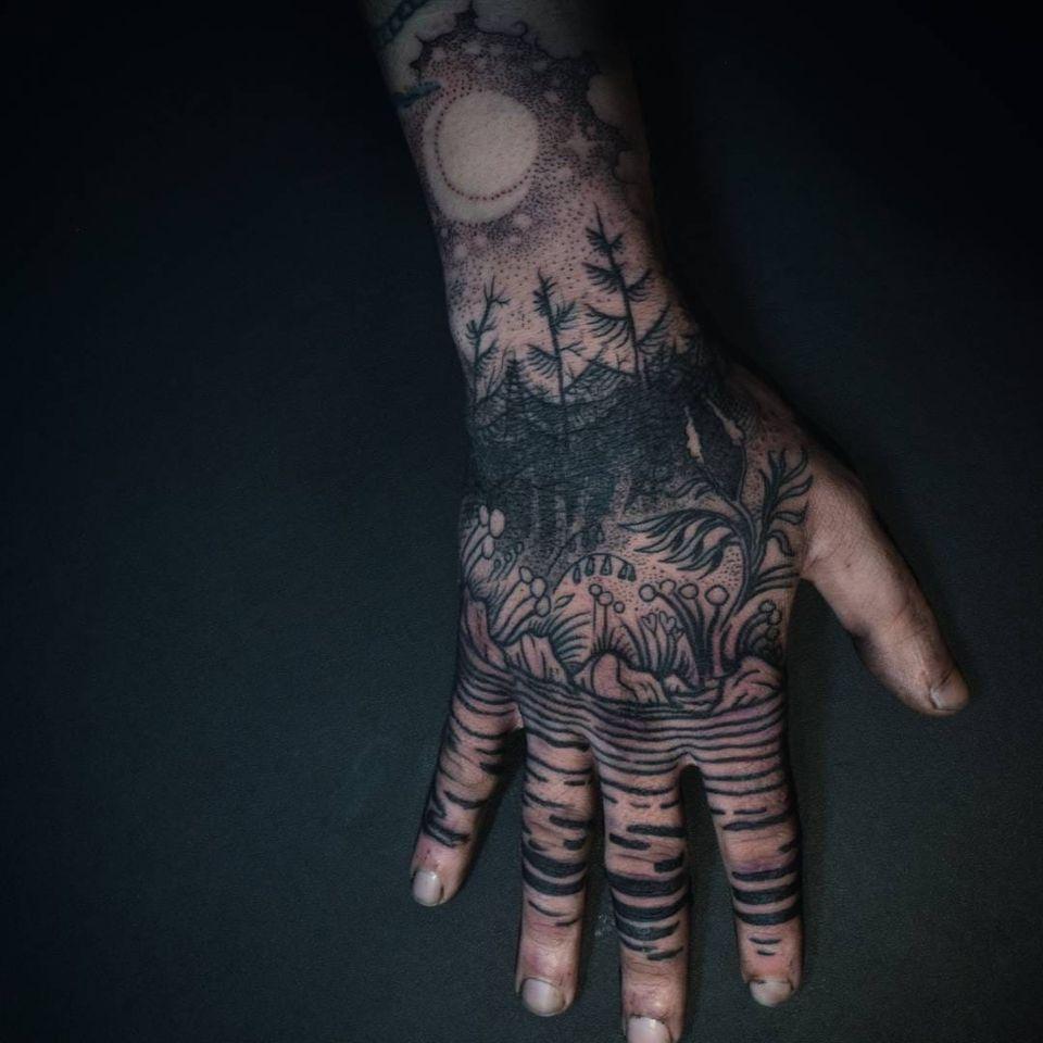 Tattoo by Noel'le Longhaul #NoelleLonghaul #linework #blackwork #dotwork #illustrative #nature #landscape #etching #water #rocks #flowers #floral #leaves #forest #trees #stars #galaxy #moon