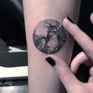 Deer tattoo by Eva Krbdk. #EvaKrbdk #Eva #Turkish #circle #miniature #mini #scenery #scene #deer #fawn #blackandgrey