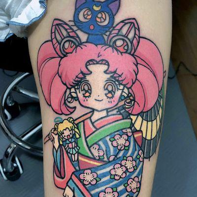 Chibiusa aka Rini tattoo by Pikkacoolcool #pikkacoolcool #sailormoontattoos #color #newtraditional #newschool #sailormoon #chibiusa #rini #cherryblossoms #luna #cat #moon #umbrella #kimono #cute #anime #manga