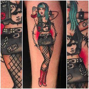 Tattooed punk girl tattoo by Moira Ramone #moiraramone #neotraditional #traditional #25toLife #rotterdam #tattooed #punk #girl