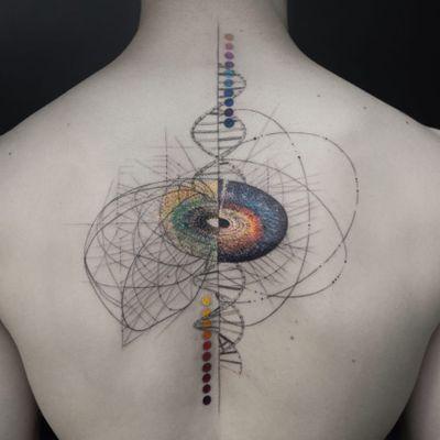 Collaborative tattoo by Balazs Bercsenyi and Eva Krbdk #BalazsBercsenyi #EvaKrbdk #cooltattoos #color #blackandgrey #linework #fineline #palette #dna #galaxy #universe #collaboration #tattoooftheday