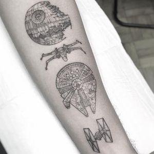 Star Wars tattoo by William Marin #WilliamMarin #movietattoos #blackandgrey #linework #illustrative #StarWars #deathstar #spaceships #tiefighter #millenniumfalcon #galaxy #space #scifi