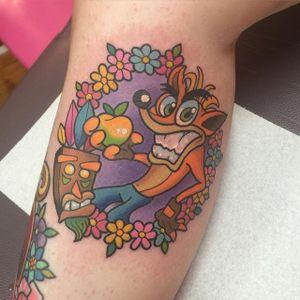 Crash Bandicoot Tattoo by Sarah K #CrashBandicoot #CrashBrandicootTattoos #PlayStationTattoos #GamingTattoos #GamerTattoos #Gaming #SarahK