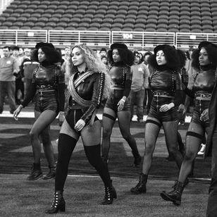 Beyonce and dancers during the Super Bowl 50 halftime show wearing custom Zana Bayne (via IG-zaynabayne) #harness #bdsm #leather #beyonce #fashion #zanabayne