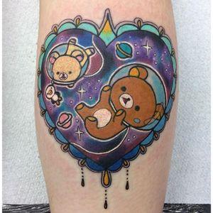 Rilakkumma Tattoo by Ashley Luka #rilakkuma #rilakkumatattoo #neotraditional #neotraditionaltattoo #neotraditionaltattoos #colorfultattoos #brighttattoos #AshleyLuka