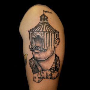 Circus Tent Tattoo by Pietro Sedda #circus #circustattoo #circustattoos #tenttattoo #tent #circustent #circustenttattoo #abstract #blackandgrey #blackandgreycircustattoo #PietroSedda
