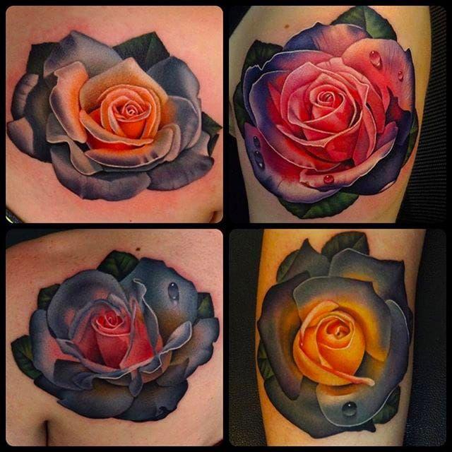 Various Rose Tattoos by Andrés Acosta @Acostattoo #AndrésAcosta #Acostattoo #Rose #Rosetattoo #Rosetattoos #Austin