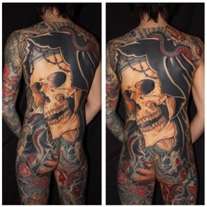 This is my favorite piece of Chris' the skull really stands out. Tattoo by Chris O'Donnell. #ChrisODonnell #TraditionalJapanese #KingsAvenueTattoo #NewYorkTattooer #oriental #easternculture #skull #asianart