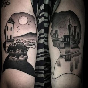 Tattoo by Tyler Allen Kolvenbach #matchingtattoos #couplestattoos #couple #TylerAllenKolvenbach