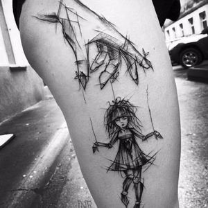 #InezJaniak #sketch #sketchtattoo #sketchstyle #rascunho #tattoorascunho #hand #mao #doll #boneca #marionete