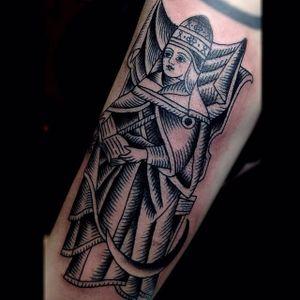 Priestess Tattoo by Marie Sena #Mariesena #Electriceye #Dallas #Texas #Black #Traditional #Lady #Girl #blackwork #Priestess