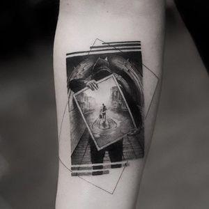 Fine-line blackwork tattoo by Balazs Bercsenyi. #BalazsBercsenyi #fineline #blackwork #contemporary #amazing #incredible