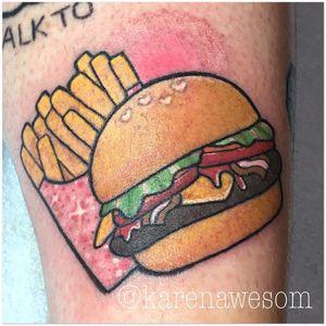 Tattoo por Karen Awesom! #KarenAwesom #Hamburguer #burger #burgerlove #hamburger #batatafrita #fries