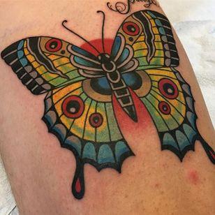 Butterfly Tattoo by Griffen Gurzi #butterfly #butterflytattoo #traditional #traditionaltattoo #oldschooltattoo #oldschooltattoos #GriffenGurzi