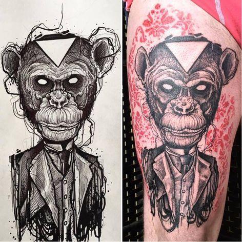 Macaco de terno #ErgoNomik #macacotattoo #monkeytattoo #macaco #monkey #terno #suit #triangulo #triangle
