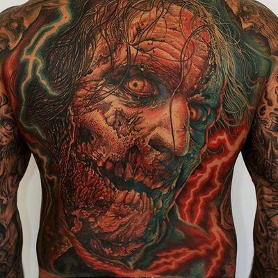 One of Mario Hartmann's incredible The Walking Dead tribute tattoos (IG—mario_hartmann_tattooist). #color #MarioHartmann #portraiture #realism #TheWalkingDead #zombie