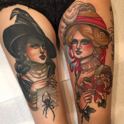 Witchy ladies by Matt Adamson #MattAdamson #color #neotraditional #lady #portrait #witch #spider #spiderweb #peony #jewelry #pearls #victorian #fortuneteller #magic #flower #feather #lace #tattoooftheday