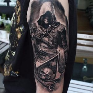 Edward Kenway Tattoo by Nikolay Dzhangirov #assassinscreed #assassinscreedtattoo #assassinscreedtattoos #gamingtattoo #gamingink #gamaingtattoos #gamerink #gamertattoo #gametattoo #ubisoft #NikolayDzhangirov