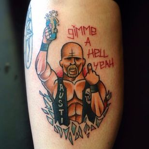 Shattered glass, a beer, a catchphrase an a middle finger - all essential elements for a Stone Cold Steve Austin tattoo. Tattoo by Gooney Toons. #SteveAustin #StoneCold #StoneColdSteveAustin #wrestling #WWF #WWE #GimmeAHellYeah #GooneyToons