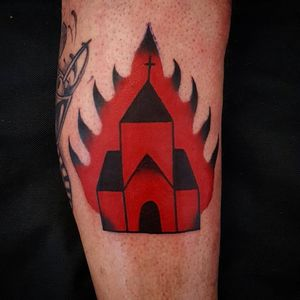 Burning Church tattoo by Uve #Uve #graphic #redink #bold #popart #church #cathedral #fire #cross #burning