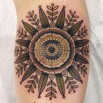 Mandala sunflower by Hilary Jane #HIlaryJane #color #newtraditional #mandala #flower #pattern #floral #leaves #sunflower #dots #ornamental #tattoooftheday