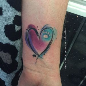 Sketch watercolor heart and paw print tattoo by Danielle Merricks. #heart #pawprint #watercolor #DanielleMerricks