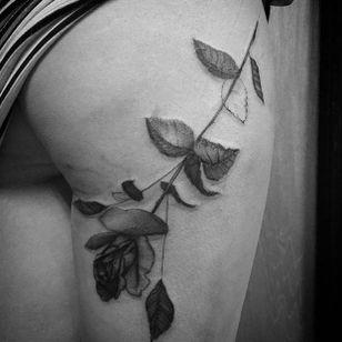 Rose tattoo by Matthew Talley #MatthewTalley #blackandgrey #nature #rose