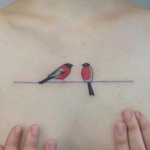 Birds of a feather by Victor Zabuga #VictorZabuga #minimalism #fineline #color #small #linework #birds #wings #line #simple #tattoooftheday