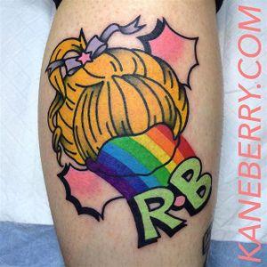 Rainbow Brite tattoo by Kane Berry. #traditional #logo #abstract #graphic #RainbowBrite #rainbow #KaneBerry