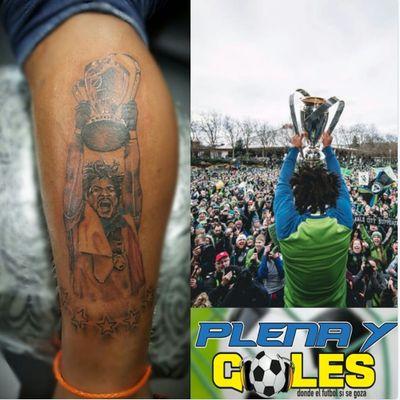 Torres' brand new celebratory tattoo. (Via Twitter - PlenayGolespty) #sports #soccer #romantorres #mls #seattlesounders