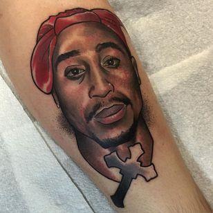Tupac Tattoo by Brenden Jones #Tupac #NeoTraditional #NeoTraditionalPortrait #Portrait #PopCulture #BrendenJones