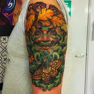 Super cool looking leaf man tattoo combined with a moth #leafman #leafmantattoo #mothtattoo #moth #JoeFrost #neotraditional