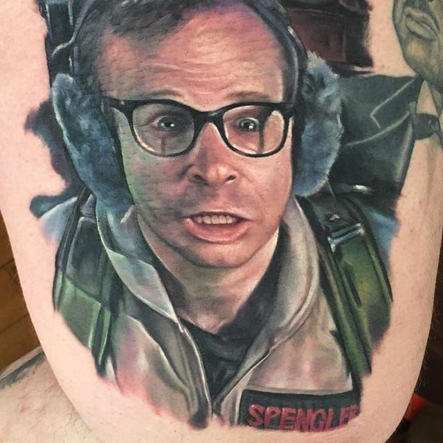 Louis Tully from 'Ghostbuters'. Tattoo by Kyle Cotterman. #realism #colorrealism #KyleCotterman #ghostbusters #LouisTully