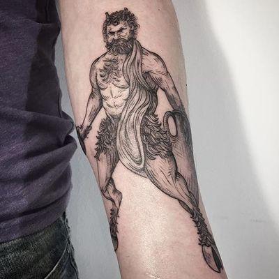 Satyr tattoo by Lesya Kovalchuk. #LesyaKovalchuk #blackwork #mythology #satyr #greek #creature #fantasy