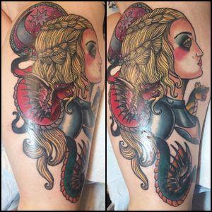 Daenerys Targaryen tattoo by Cara Cable. #daenerys #targaryen #daenerystargaryen #gameofthrones #GOT #khaleesi #dragon #neotraditional