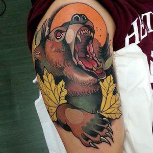 Neo Traditional Bear Tattoo by Toni Donairen #NeoTraditionalBear #NeoTraditional #BearTattoos #BearTattoo #ToniDonaire #bear