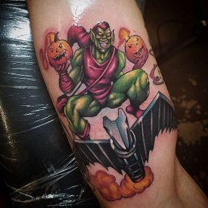 Green Goblin Tattoo by Mike Diaz #greengoblin #greengoblintattoo #greengoblintattoos #spiderman #spidermantattoo #comic #comicbook #marvel #marveltattoos #MikeDiaz